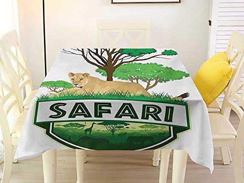 L'sWOW Square Tablecloth wipeable Safari African Savannah with Lion and Green Trees Wilderness Exotic Nature Sand Brown Hunter Green Stain 60 x 60 Inch ()