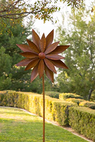 (Alpine NCY354 Rustic Metal 3D Rudbeckia Garden Stake Windmill Spinner, 96 Inch Tall Rusty)