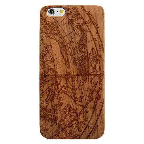 JewelryVolt Wooden Phone Case for iPhone 7 Plus Cherry Wood Laser Engraved Spiritual Zodiac Sketch Constellations