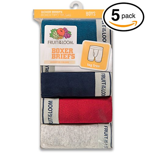 Fruit of the Loom 5Pack Boys Assorted Cotton Boxer Briefs Underwear XL
