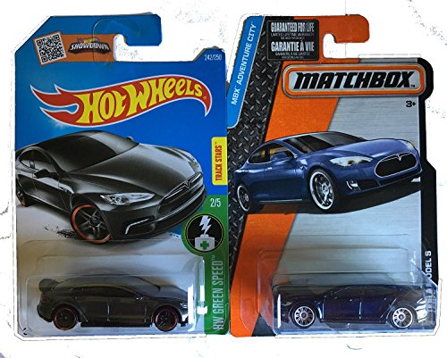 Hot Wheels 2016 Dark Grey with Matchbox Blue Tesla Model S 2-Car Set