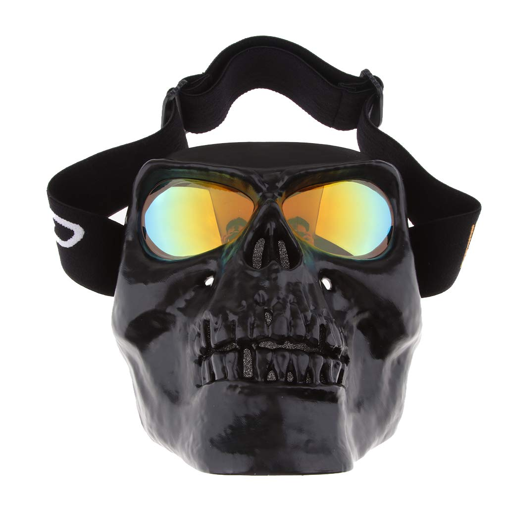 White+Clear H HILABEE Skull Skeleton Visor Flip Up Motorcycle Helmet Demon Full Face Mask Eyeware