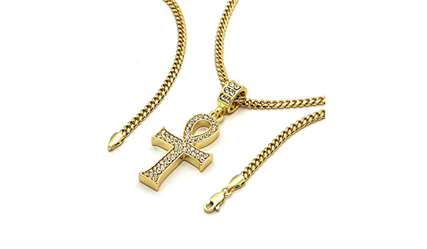 """Men/'s 14k Gold Plated All Gold Engrave Ankh Pendant Hip-Hop 30/"""" Cuban Chain"""