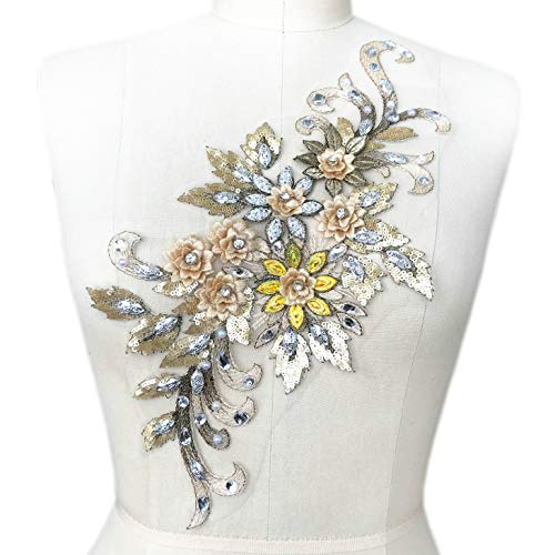 (1938cm 3D Colorful Flower Mesh Embroidered Rhinestone Lace Beaded Applique with Sequins DIY Lace Fabric Trim for Clothes Accessories Hardware (Yellow))
