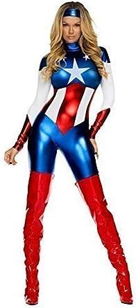 Disfraz de capitán américa tamaño 38 de mujer calidad Incluye todo ...