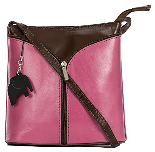 Crimson and Trim LIATALIA a Bag Protective Alice Storage Leather Pink with Charm Body Shoulder Italian Brown Bag Mini Cross wx1BUw7aq