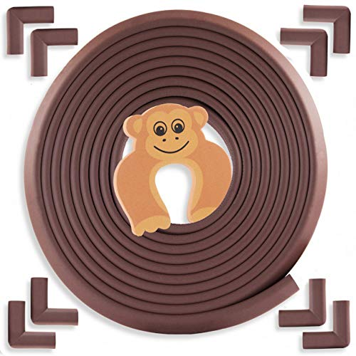 Bebe Earth - Baby Proofing Edge and Corner Guard Protector Set - Safety Bumpers - Child Proof Furniture and Tables - Pre-Taped Bumper Corners - (20.4 feet and 8 corners, Coffee Brown)