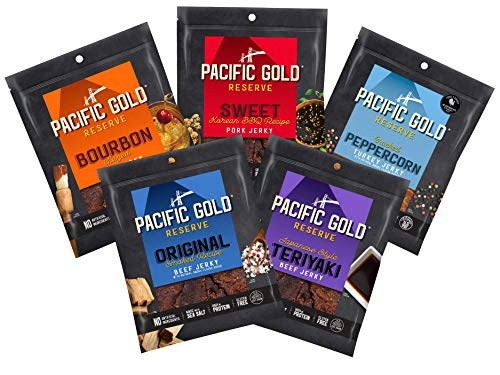Pacific Gold Reserve Jerky Variety Pack V2 (Sweet Korean BBQ Pork, Japanese Style Teriyaki Beef, Bourbon Glazed Beef, Original Smoked Recipe Beef, Cracked Peppercorn Turkey), 2.5 Ounce (Pack of 5)