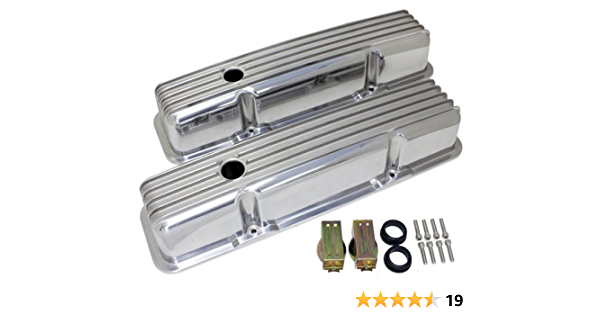 SBC Chevy Clear 2pc Anodized Aluminum Valve Cover T-Bar Set of 8 283 327 350 400