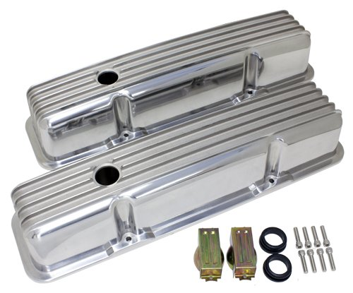Engine Cover Finned (1958-86 Chevy Small Block 283-305-327-350-400 Tall Polished Aluminum Valve Covers - Full Finned)