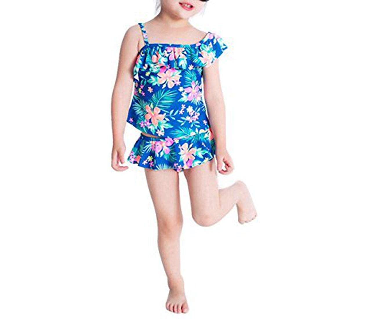 77e7b0b2845f6e Amazon.com  Alvivi Girls Toddlers Two Piece Tankini Swimsuit Hawaiian Ruffle  Swimwear Bathing Sets  Clothing