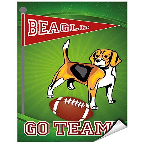 Football Fan Beagle Dog Vinyl LABEL DECAL STICKER 9 inches x 12 (Beagle Fan)