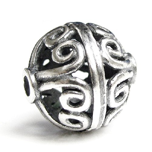 Dreambell 1 pc Vintage .925 Sterling Silver Round Bali Flower Focal Ball Spacer Bead 11mm / Findings / Antique