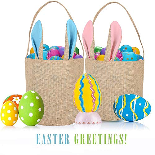 2pcs Easter Bunny Bag Dual Layer Gift Rabbit Ears Bag Reusable DIY Gift Bag for Party Favor Supplies (Pink & Blue) -