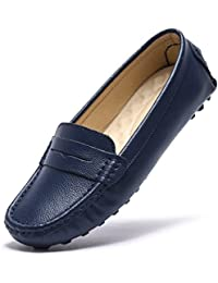 Womens Classic Genuine Leather Penny Loafers Driving Moccasins Casual Slip On Boat Shoes Fashion Comfort Flats