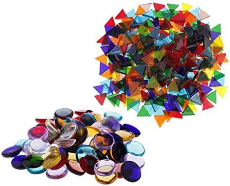三角形 モザイクタイル ラウンド ガラスタイル マルチカラー カップ装飾 約260G