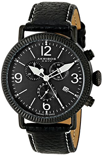 Akribos XXIV Men's AK753BK Swiss Chronograph Quartz Movement Watch with Black Matte Dial and Black with Cream Stitching Leather over Nubuck Strap