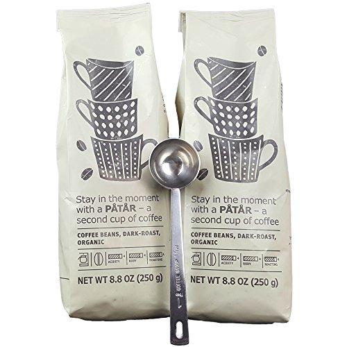 IKEA Roasted Whole Coffee Beans Bundle - Dark Roast, Organic - 8.8 Oz Each (Pack of 2 - Total 17.6 oz) With Stainless Steel Measuring Coffee Spoon