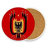 German Eagle Flag Coasters, Protect Your Furniture from Stains,Coffee, Cork Coasters Funny Housewarming Gift,Round Cup Mat Pad for Home, Kitchen or Bar Set of 2