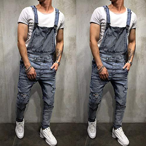 À Jeans Brisée Homme Jarretelles Décontractée Bleu Combinaison Délavé Poche Pantalon Lavé nBwxHCqR4W