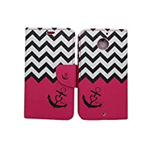 Motorola Moto X 2nd Gen [2014 Released] Wallet Folio Case by iViva For Designed Luxury Magnetic PU Leather Credit Card Holder Flip Cover + A Retractable Stylus Pen w/ 3.5mm Anti Dust Plug (Hot Pink Chevron Anchor)