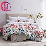 Leadtimes 3pc Soft Microfiber Queen Duvet Cover Set, White Floral Deal (Small Image)