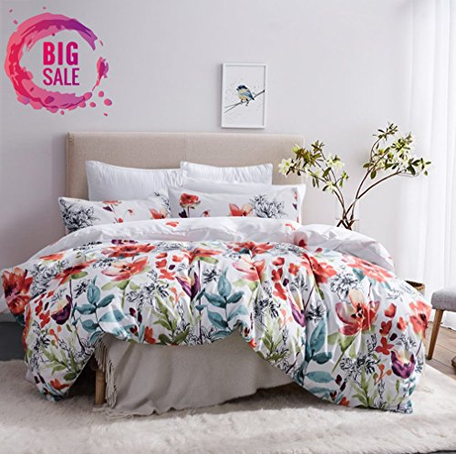 Leadtimes Duvet Cover Queen White Boho Duvet Cover Set Floral Bedding with Soft Lightweight Microfiber 1 Duvet Cover and 2 Pillowcases (Queen, Style2) (Duvet Covers Queen Size)