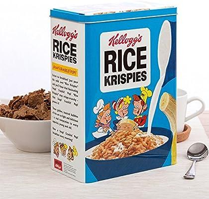 Retro cereales Metal lata almacenamiento caja con tapa: Amazon.es: Hogar