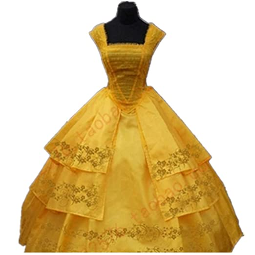 Amazon.com  Belle Princess Dress Cosplay Dress for Female Adults in 2017  Live-Action Beauty and The Beast  Clothing b120b43abed6