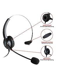 AGPtek teléfono auricular monoaural, con cable, cancelación del ruido, centro de llamadas, manos libre y micrófono de karaoke inalámbrico portátil, HA0098 Rosa Roja