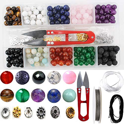 (Stone Beads Tool Box Set Kits, 240 PCS Natural Amethyst Lava Stones and Other Assorted Color Gemstones with Accessories Tools for DIY Bracelet Jewelry Making)