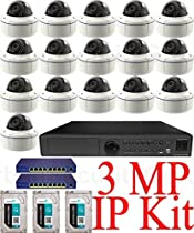 USG 3MP IP PoE CCTV Kit: 1x 16 Ch @ 3MP NVR + 16x 3MP IP PoE 2.8-12mm Dome Cameras + 2x 9 Port PoE Network Switch + 3x 3TB HDD (9TB Total) *** Ultra High Definition Video Surveillance For Your Home or Business!