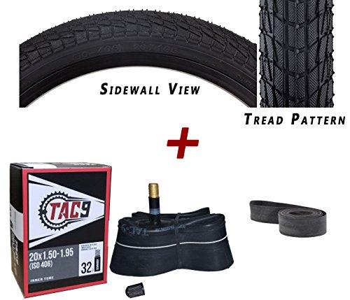 "TAC 9 Combo 2 Pack - 20""x1.95"" Bike Tire, Tube & Rim Strip B"