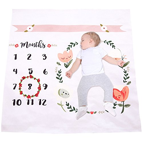Elesa Miracle Newborn Baby Monthly Milestone Blanket + Flower Crown for Month Photo Prop Shoots Backdrop Photography for Each Month (Set B)