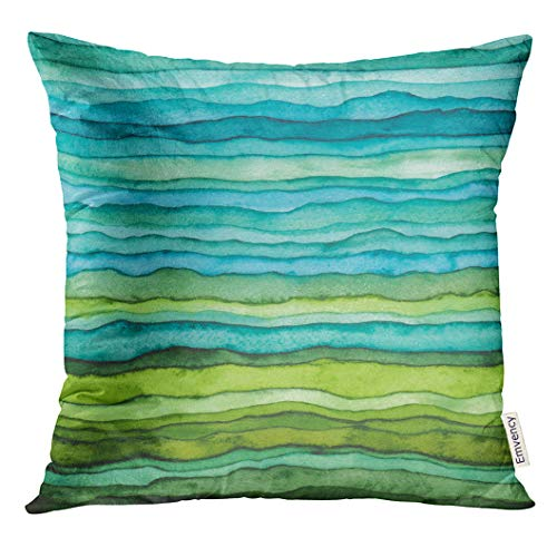 Golee Throw Pillow Cover Abstract Bright Blue and Green Waves Hand Drawn Stripped Watercolor Brush Dye Decorative Pillow Case Home Decor Square 18x18 Inches Pillowcase (Blue Pillows Green)