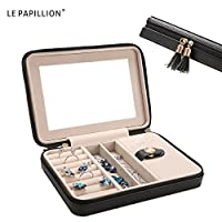 LE PAPILLION Jewelry Box Small Travel Jewelry Organizer Storage Case with Large Mirror for Rings Earring Necklace bracelets Gifts for Women Girls