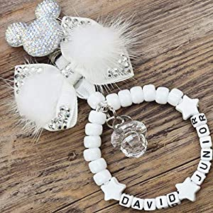 Personalised stunning pram charm in white for baby girls boys