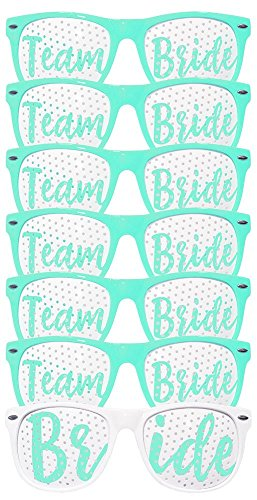 Bachelorette Party Wedding Sunglasses Set for Bridal Party - Bridal Party Favors - Fun Photo Props Novelty Ideas (Bride and Team Bride - 7pcs- - Wedding Favors Party Sunglass