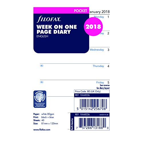 Filofax 2018 Pocket Week on a Page Refill, Jan 2018- Dec 2018, 4.75 x 3.25 inches (C68226-18)