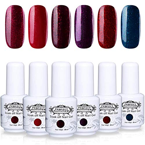 Perfect Summer Glitter Red Gel Nail Polish - 6 Colors Gel Nail Varnish Soak Off UV LED Manicure Starter Kit Gift Set 8ML 077 ()