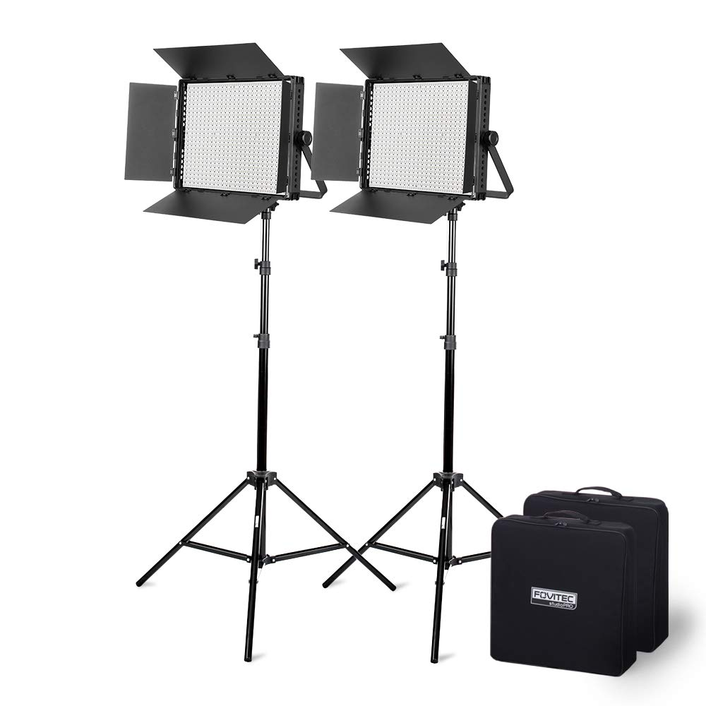 Fovitec - Ultra-Bright 2-Light 1200 LED Daylight Panel Kit for Video & Photo with DMX, V-Lock Mount, Case, and Stands by Fovitec