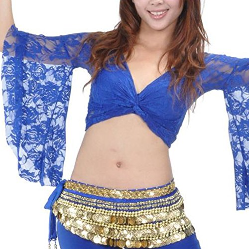 [Tribal Belly Dance Lace Butterfly Sleeve Wrap Top Gift Idea Royal Blue] (Butterfly Costume Ideas For Adults)