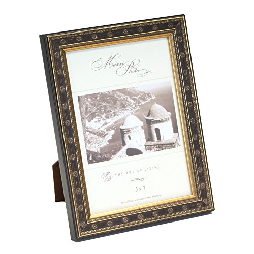 Maxxi Designs Photo Frame with Easel Back, 5 x 7, Antique Gold Leaf Classics