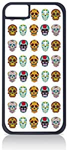 Sugar Skulls Pattern- Case for the Apple Iphone 5-5s Universal-Hard Black Plastic Outer Shell with Inner Soft Black Rubber Lining-(NOT 5C) wangjiang maoyi by lolosakes