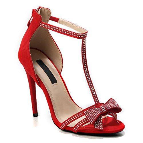 Schleife Masche Red Absatz Damen Riemen Hohe Highheels Sandaletten Heels Offene Schuhe Pumps Strap High T Strass Absatzschuhe x7aUPq