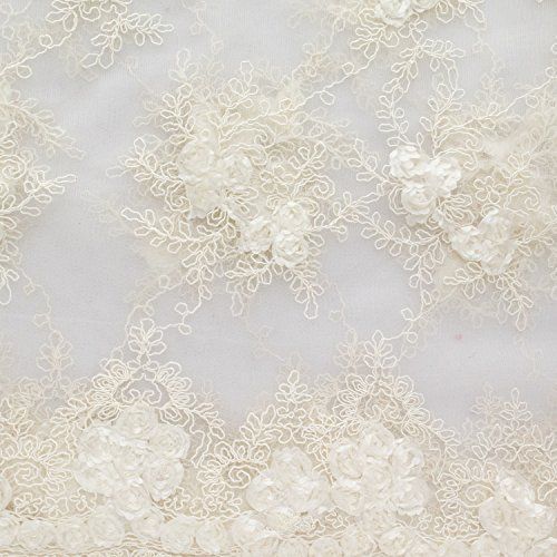 Corsage Lace Embroidered Roses on Mesh 54 Inch Wide Fabric by the Yard (F.E. (Ivory)