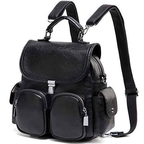 Backpack Purse for Women,VASCHY Anti Theft Cute Small Mini Convertible PU Leather Backpack Shoulder Bag for Ladies Teen Girls Black ()