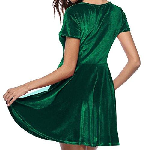 Confortables Femmes Velour Couleur Pure Manches Courtes Mince Ajustement Robe Pull-over Vert Noirâtre