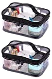 LOUISE MAELYS Portable Clear Makeup Bag Zipper Waterproof Transparent Travel Storage Pouch Cosmetic Toiletry Bag With Handle(2 Pack)