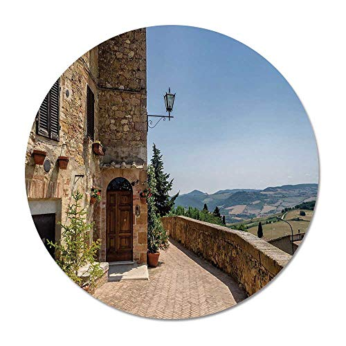 (Italian Decor Round Door Mat 23.6 Inches,The Walls of Pienza in Tuscany Historical European Landmark for Living Room Bedroom,23.6''Round)